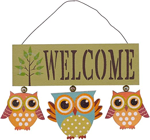 Amazon.com: Attraction Design Wood Owls Welcome Sign (Green): Home ...