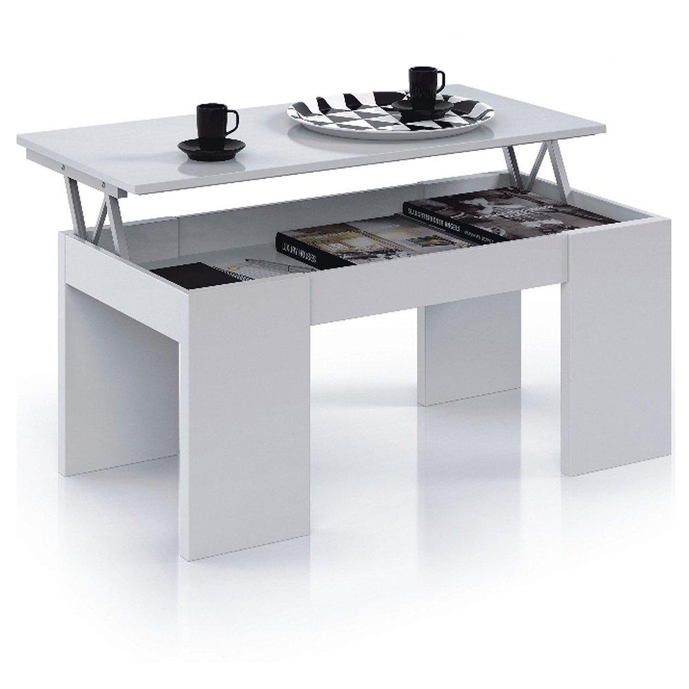Due-home Habitdesign 001637BO - Mesa centro elevable, color Blanco, medidas: 100x50x43/52 cm de altura Due-home innovations