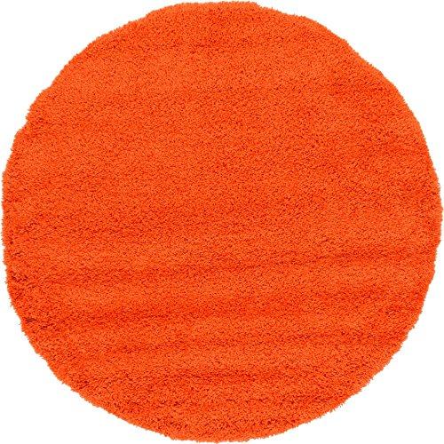 Unique Loom Solo Solid Shag Collection Modern Plush Tiger Orange Round Rug (6' 0 x 6' 0) ()