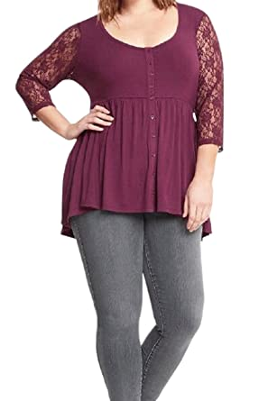 e13cb33f3fe Image Unavailable. Image not available for. Color  Unomatch Women Lace  Sleeves Plus Size ...