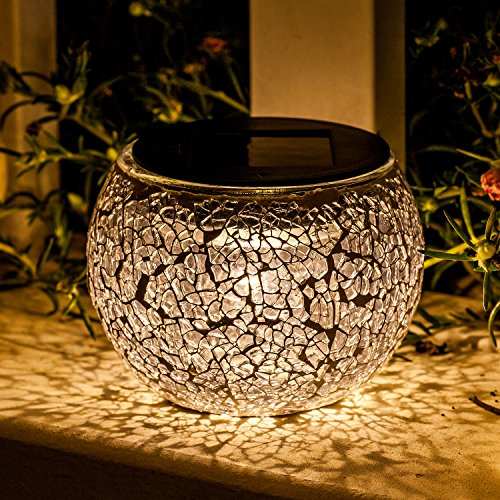 Solar Mosaic Glass Table Lights - Voona 2 Pack Waterproof Warm White LED Silver Night Lights Table Lamps for Outdoor Garden Indoor Decoration (Silver)