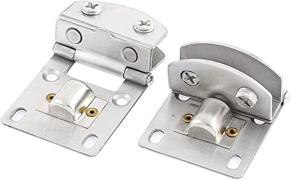 SovelyBoFan cero inoxidable Bisagra para puerta de 5-8mm de cristal brazadera Clip tono de plata 2pcs