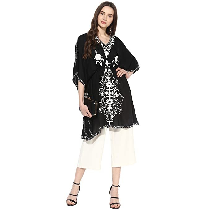 fb45526d3f CRAFTBAZAR Women's Boho Embroidered Black Kaftan Top (Free Size):  Amazon.in: Clothing & Accessories