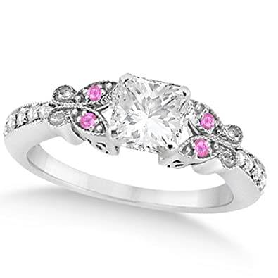 bf8b4ef3752ce Butterfly Heart Shaped Diamond and Pink Sapphire Engagement Ring 14k ...