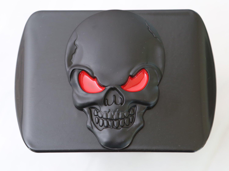 Black Red on Black LFPartS 100/% Metal Skull 3D Emblem Trailer Hitch Cover Fits 2 Receivers