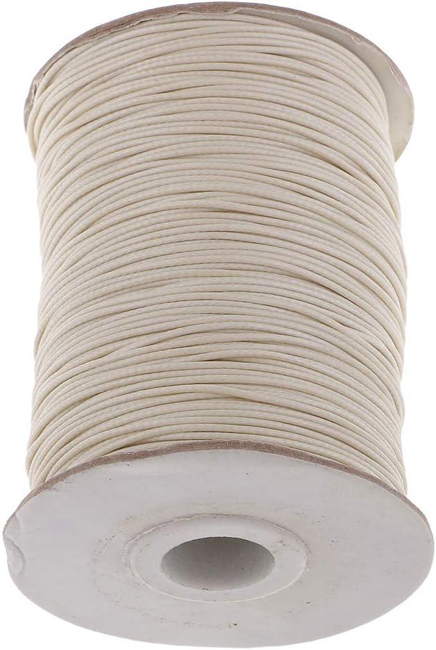 sharprepublic 170 Metros 1mm Algodón Encerado Cordón Rebordear Joyas Hilo - Beige: Amazon.es: Hogar