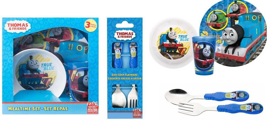 Thomas and Friends 3 Pc Dinnerware Set and 2 Pc Flatware Set Bundles
