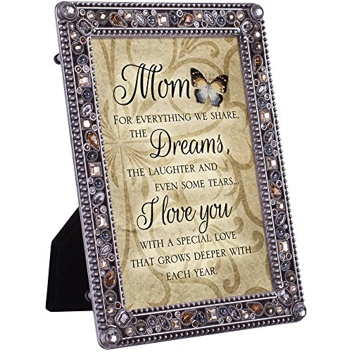 Cottage Garden Mom Love Grows Deeper Each Year Jeweled Pewter Colored 5 x 7 Easel Back Photo ()