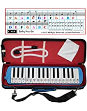 QMG Melodica 32 Keys with Piano Stickers, Hard Cover Carrying Case, Mouthpiece