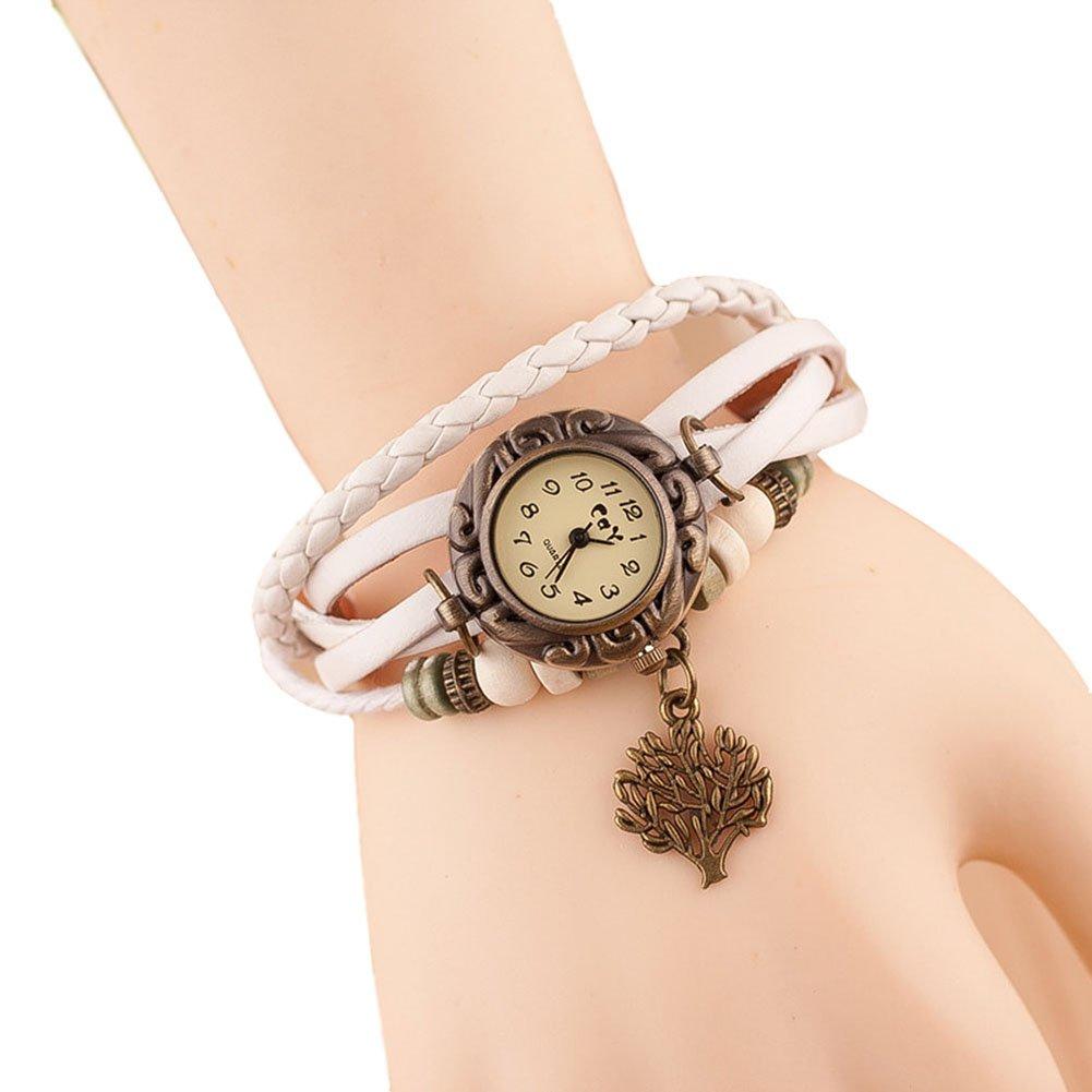 Hosaire Watch Bracelet Vintage Multilayer Weave Wrap Around Leather Chain Bracelet Quartz Wrist Watch with Tree Pendant for Women Men White