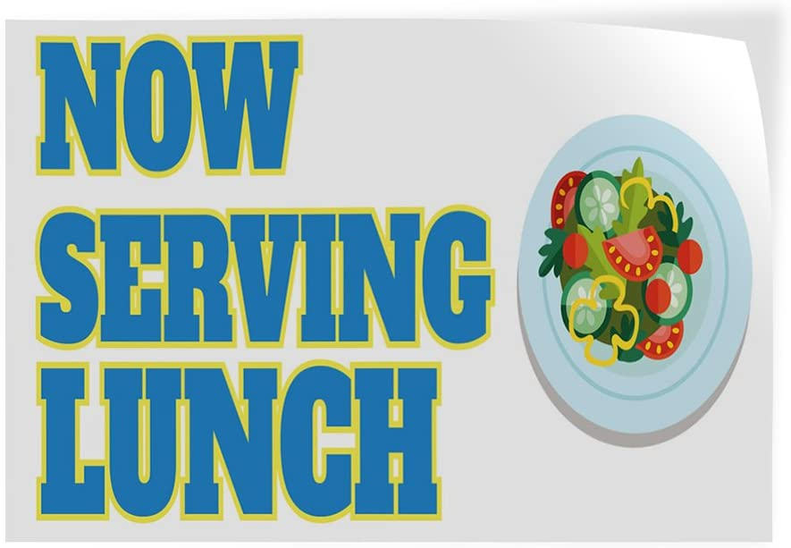 27inx18in Set of 5 Decal Sticker Multiple Sizes Now Serving Breakfast #9 Business Lunch Outdoor Store Sign White