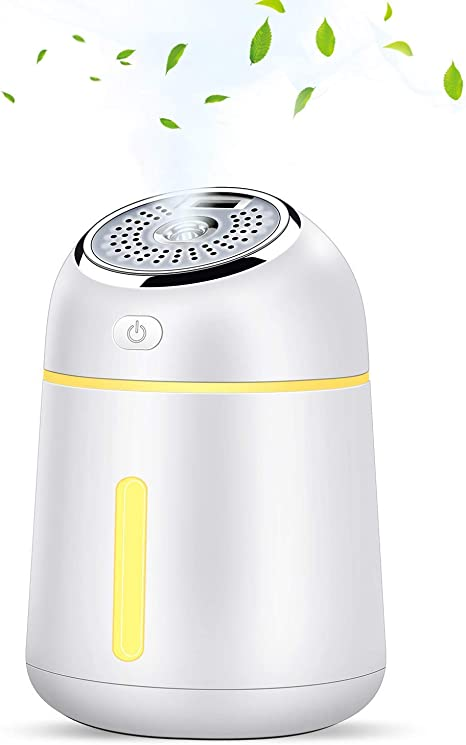 KuoYi 330ml Portable Cool Mist Humidifier, 5 in 1 Essential Oil Diffuser with LED Light and USB Fan Waterless Automatically Shut Off for Office, Home,