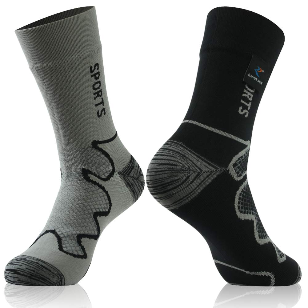 Waterproof Ultimate Socks, RANDY SUN Unisex Sport Socks & Breathable Hiking/Trekking/Skiing Socks, 1 Pair-Different Colors in Two Fashion Socks-Mid calf socks,Large by RANDY SUN