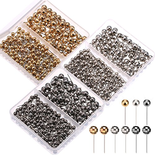 ap Tacks Push Pins with Metallic Round Head Steel Point for Bulletin Board Fabric Marking, 1/8 Inch, 1/4 Inch ()