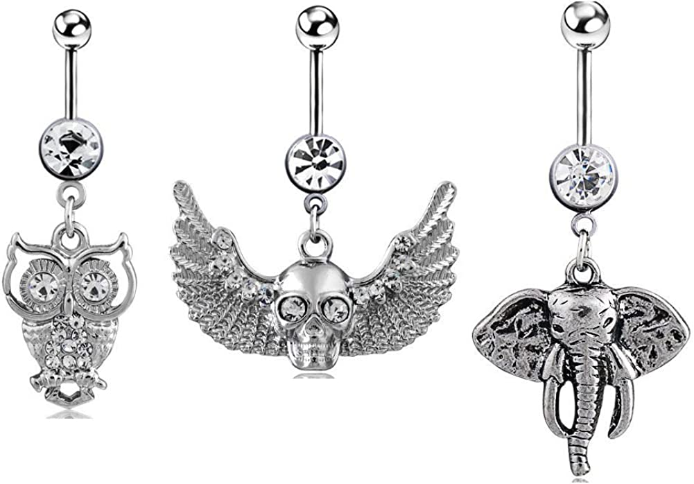 Stainless Steel Navel Ring Elephant Dangle Button Barbell Belly Bar Piercing