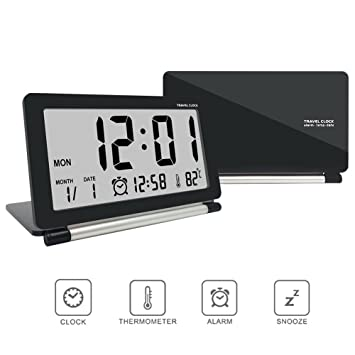 Amazon Digital Alarm Clocktravel ClockeconoLED Multifunction Silent LCD Large Screen Travel Desk Electronic Clock