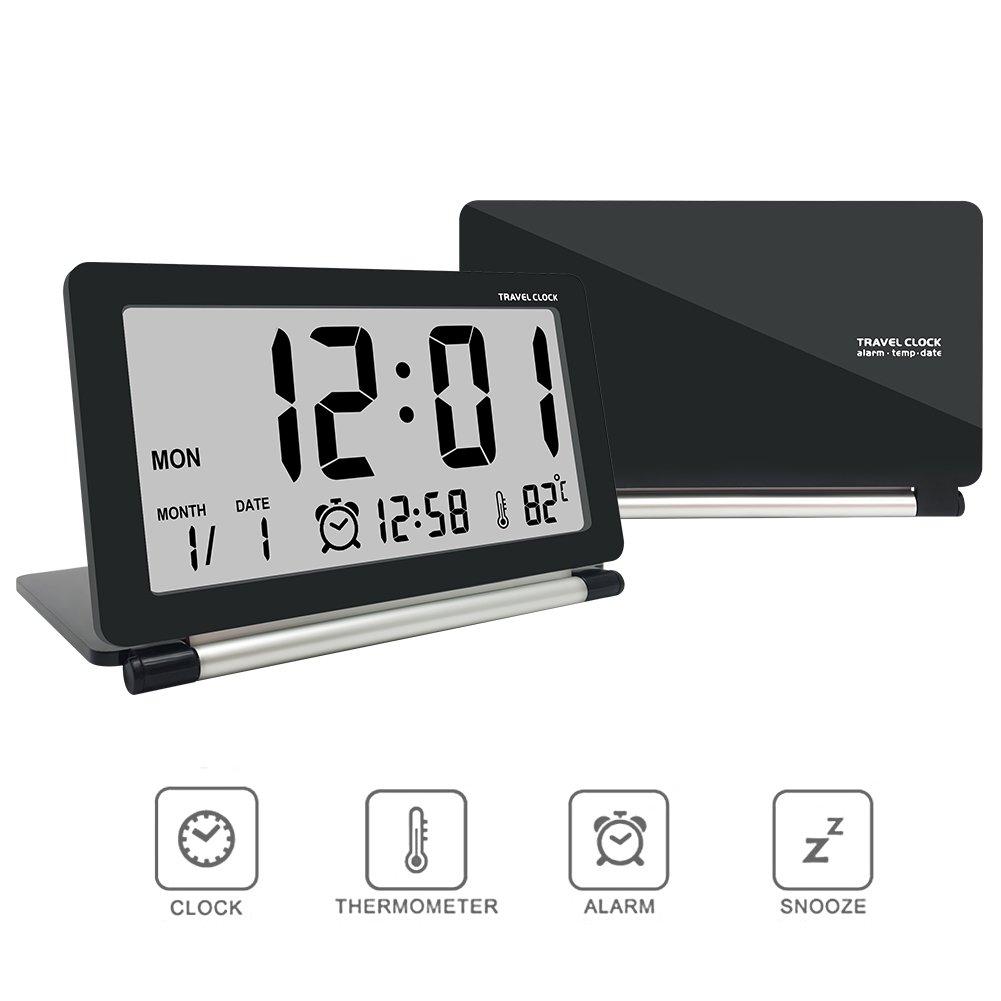 Digital alarm clock,travel clock,econoLED Multifunction Silent LCD Digital Large Screen Travel Desk Electronic Alarm Clock, Date/Time/Calendar/Temperature Display, Snooze, Folding Black & Silver
