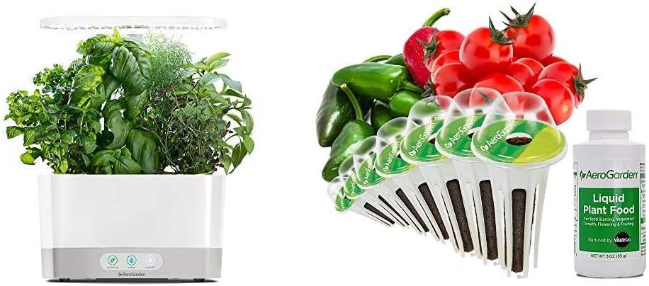 AeroGarden Harvest-White Indoor Hydroponic Garden & Salsa Garden Seed Pod Kit, 7