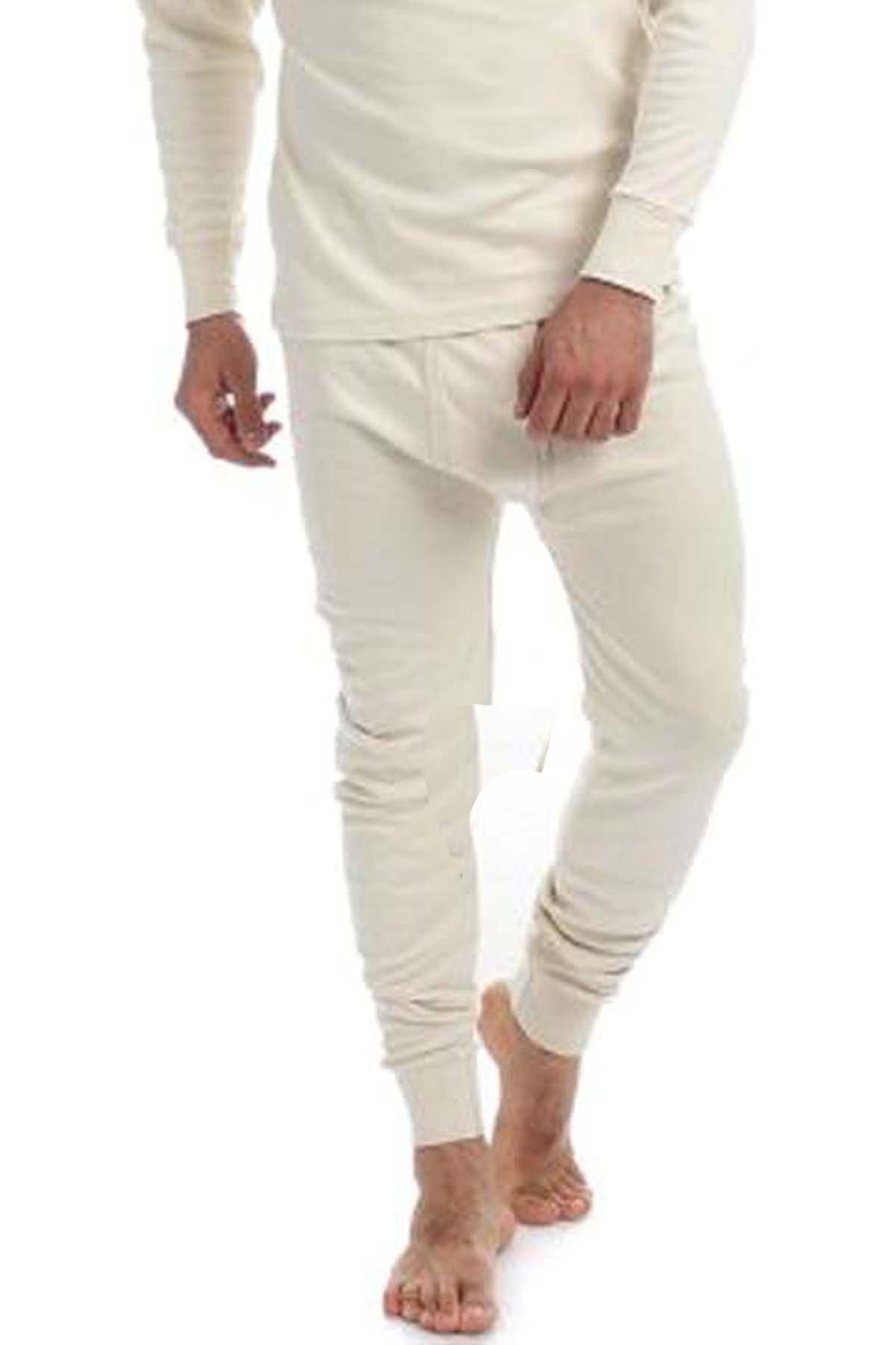 Men's Thermal 100% Cotton Long Johns (240 GSM) Soft Underwear (XL, Cream) by Elegance1234