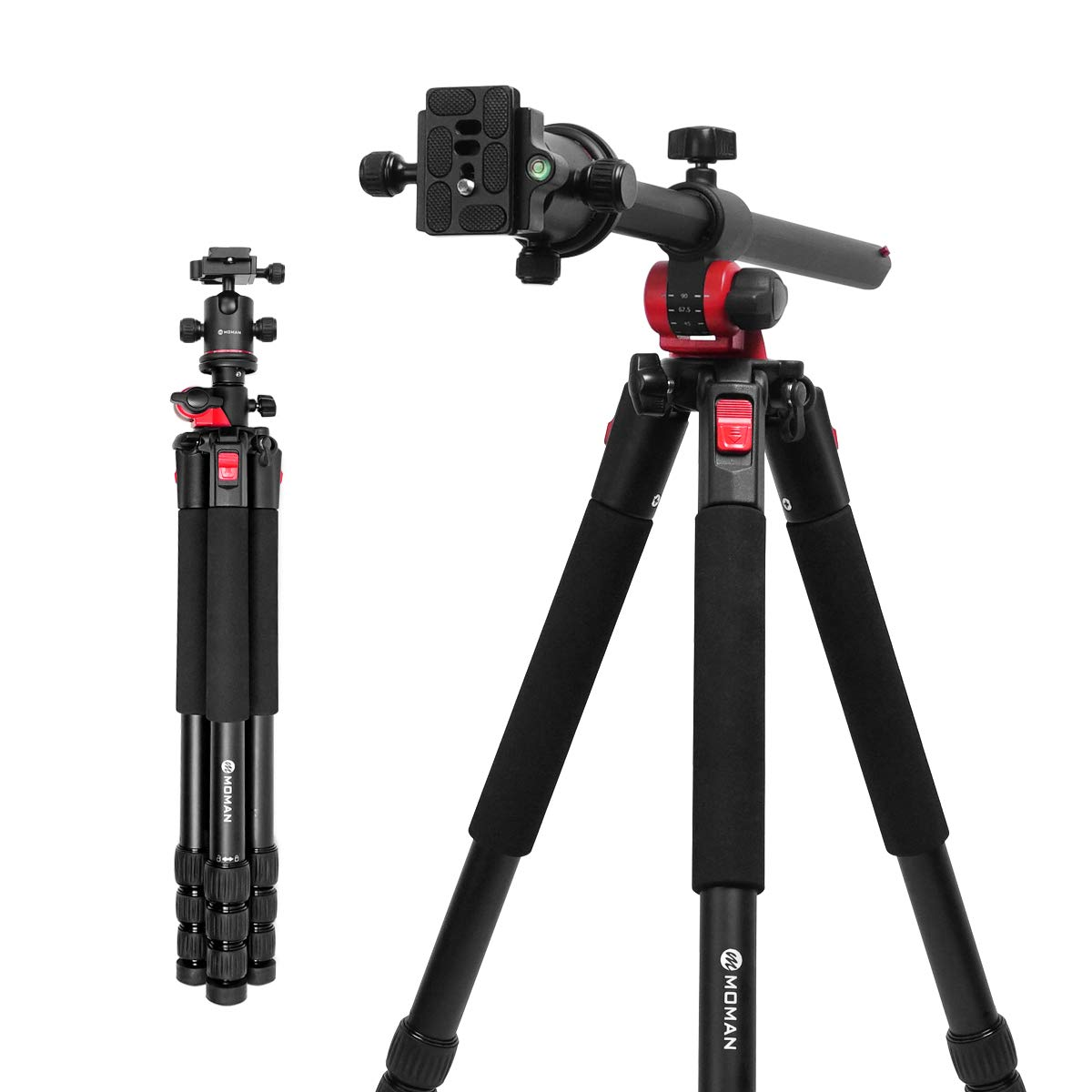 Unipod Monopod Tripod for Camera DSLR Camcorder DV, Lightweight Portable Aluminum Alloy Alpenstock, Tripod Base Included, 5 Sections Up to 65 inch … Moman
