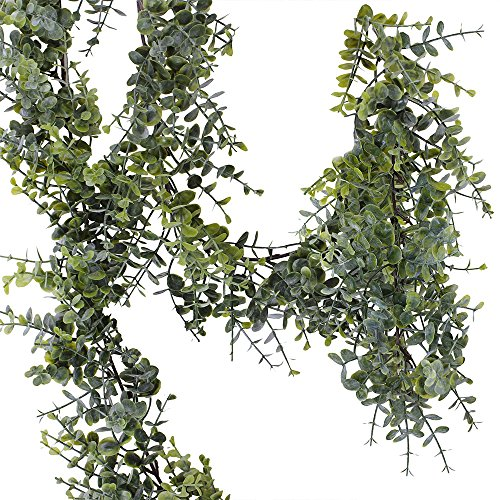 Supla Pack of 3 UV Protected Indoor Outdoor Faux Eucalyptus Leaf Garland in Grey Green Light Dusting 6.5' Long Faux floral Garland Holiday Greenery Green Garland (3)
