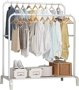منظم و حامل لتعليق الملابس من المعدن - أبيض