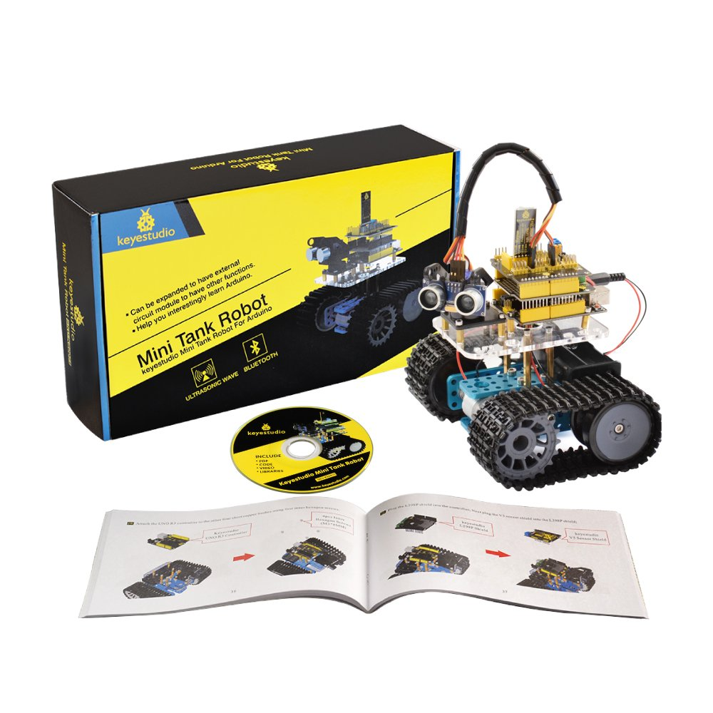 Keyestudio Mini Tank Robot For Arduino Diy Smart Car Wiring Diagram Kit Updated With Uno R3 Board And Tutorial Great Educational Stem Toys Boys Girls