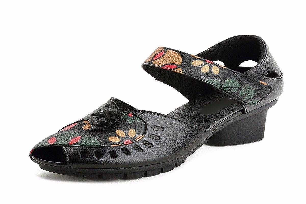 KPHY Damenschuhe/Sommer Frauen-Sandaleen Mutter Schuhe mit Fisch Im Mund aus Leder Blumen Weichen Boden Mitte und Alt Damenschuhe.