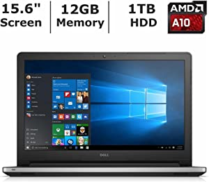 "2016 Dell Inspiron 15.6"" High Performance Laptop PC, AMD A10-8700P Processor, 12GB RAM, 1TB HDD, DVD+/-RW, Webcam, WIFI, HDMI, Bluetooth, Windows 10, Silver"