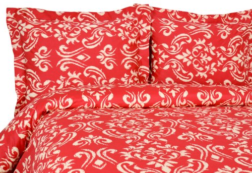 - Elite Home Products Sicily Collection 300 Thread Count Sateen 3-Piece Duvet/Sham Set, Full/Queen, Red