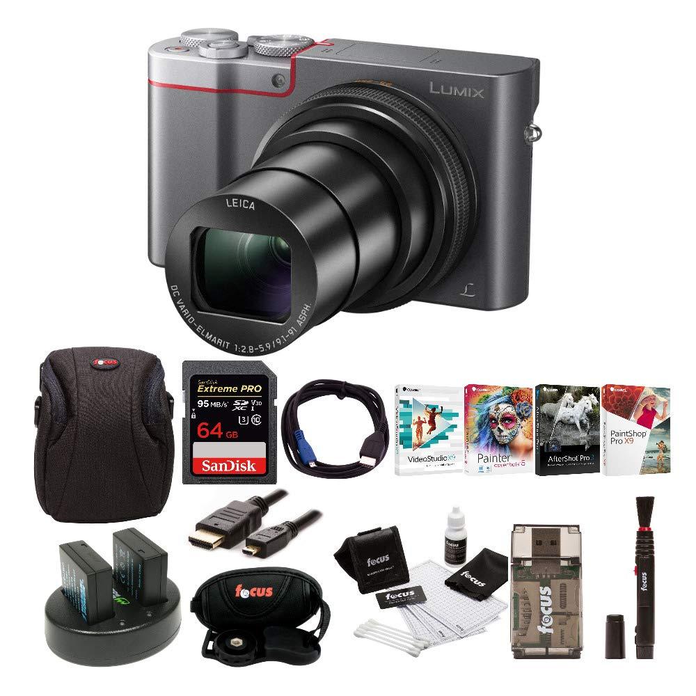 Panasonic Lumix DMC-ZS100 Digital Camera w/Case & 64GB SD Card Bundle (Silver) by Panasonic