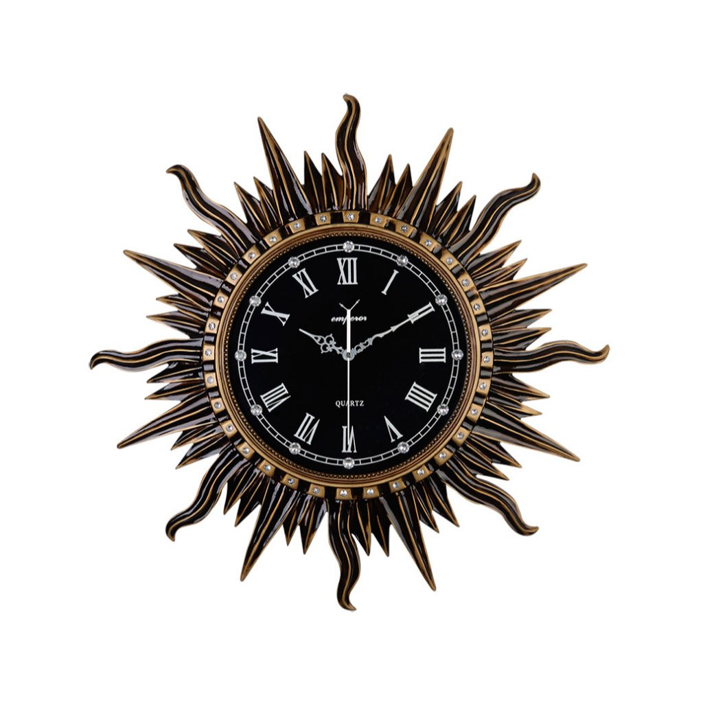 Wall Clock- Retro Large Sun Silent Wall Clock Non Ticking for Living Room Kitchen Bedroom Vintage Decor (Color : A) Friendship Shop