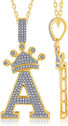 1 Ct Round Cut Diamond King Crown C Initial Pendant 14K Yellow Gold Finish