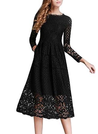 Langes kleid schwarz mit armel