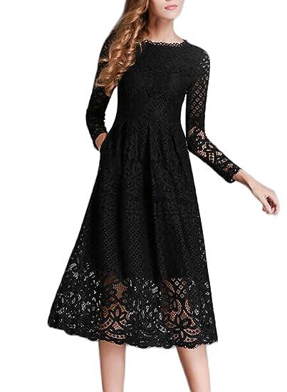 Minetom Damen Kleid Lange Ärmel Sommerkleid Spitze Elegant Abendkleid Partykleid Maxi Kleid