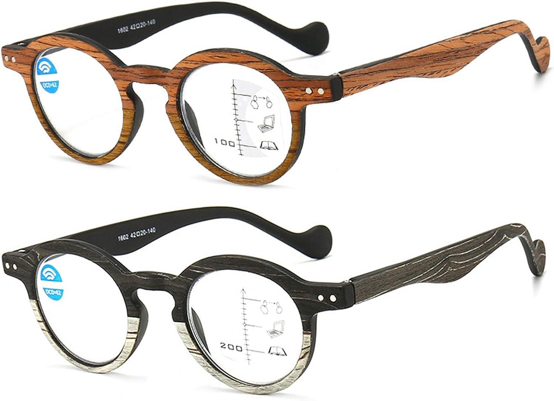 Gafas De Lectura, Grano De Madera Multifocal Progresivo Gafas Luz Azul Antirreflejos UV para Los Ojos Bisagra Comfort Spring Gafas para Ordenador para Hombres Mujeres Unisexo,A,+ 2.00 X