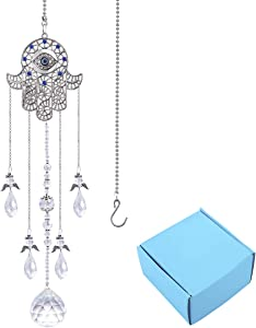 YU FENG Hanging Clear Crystal Suncatcher Ornaments with Hamsa Hand and Blue Evil Eye Protection Charm,Angel Style Chandelier Crystal Beads Chain