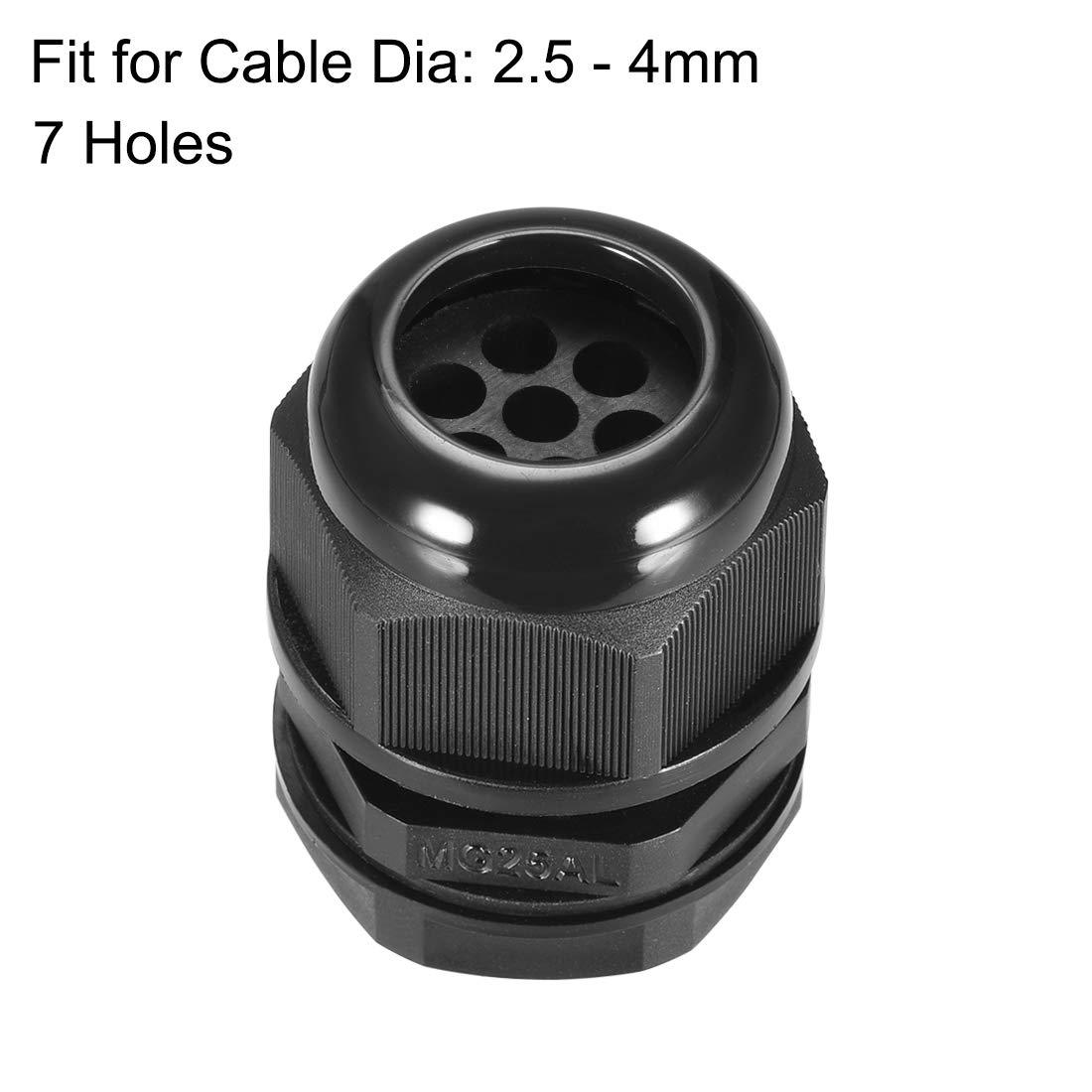 contratuerca de nylon impermeable para cable de 4.3-6.1mm de di/ámetro sourcing map Prensaestopas M25 2 agujeros