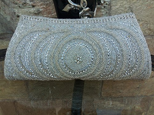 White Bead wallet/Ethnic Bridal Party bag/Classic Handmade vintage style beaded clutch //Prom party purse //Bollywood bag