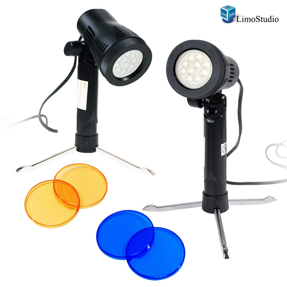 LimoStudio 2 Sets Photography Continuous LED Portable Light Lamp for Table Top Studio with Color Filters, Photography Photo Studio, AGG1501