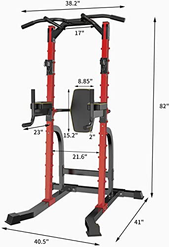 HI-MAT Adjustable Power Tower Squat Rack & Pull Up Bar Multi-Function Strength Training Equipment Chin Up Push up Dip Station