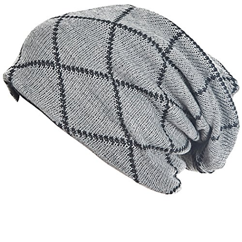 (FORBUSITE Mens Slouchy Long Oversized Beanie Knit Cap for Summer Winter B08 (Grey with Black))