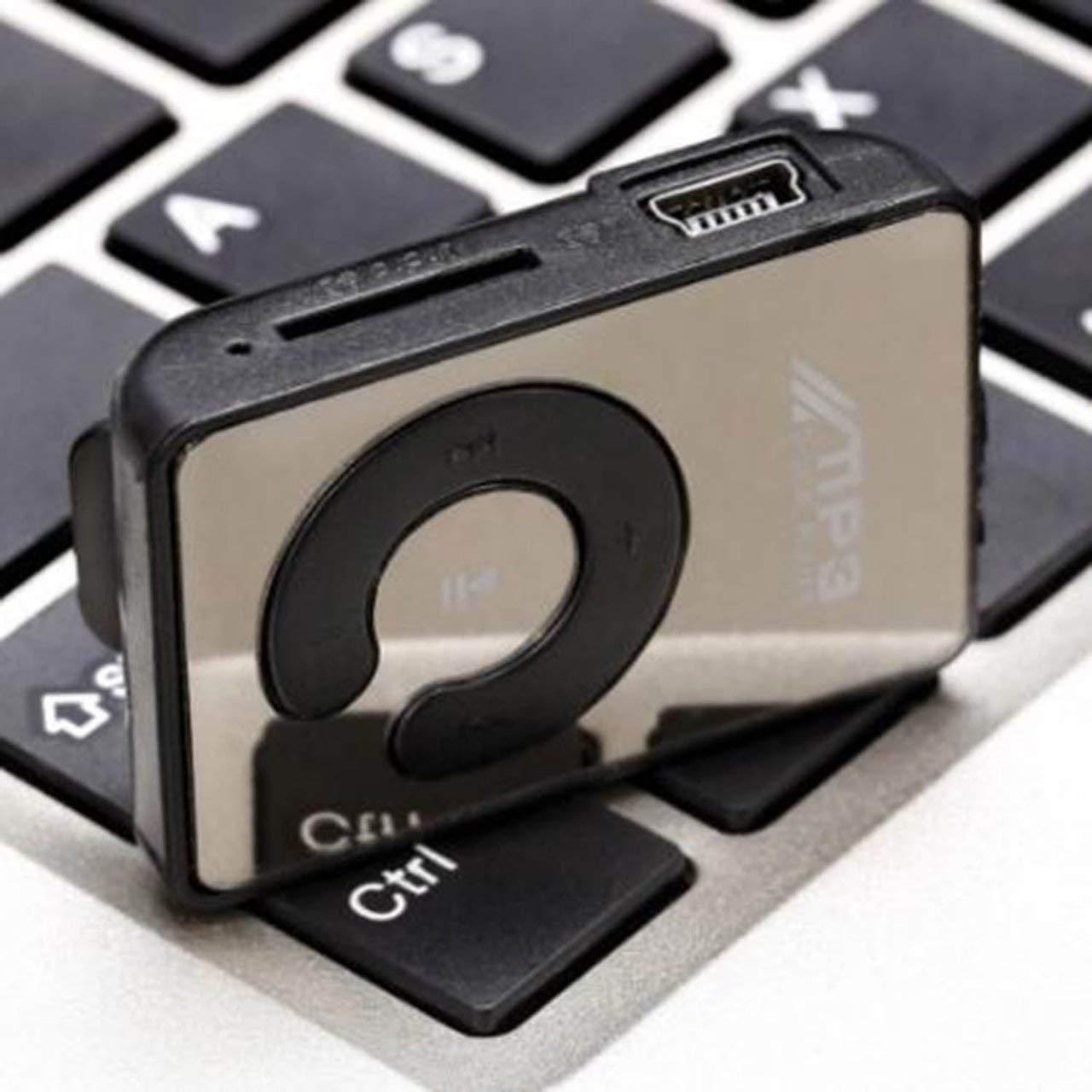 ITjasnyfall Blu Lettore MP3 Mini Clip a Specchio Portatile Moda Sport Lettore Musicale Digitale USB Micro SD TF Card Lettore multimediale