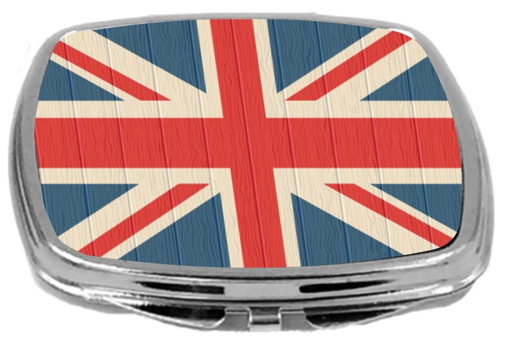 Rikki Knight Compact Mirror on Distressed Wood Design, United Kingdom Flag, 3 Ounce