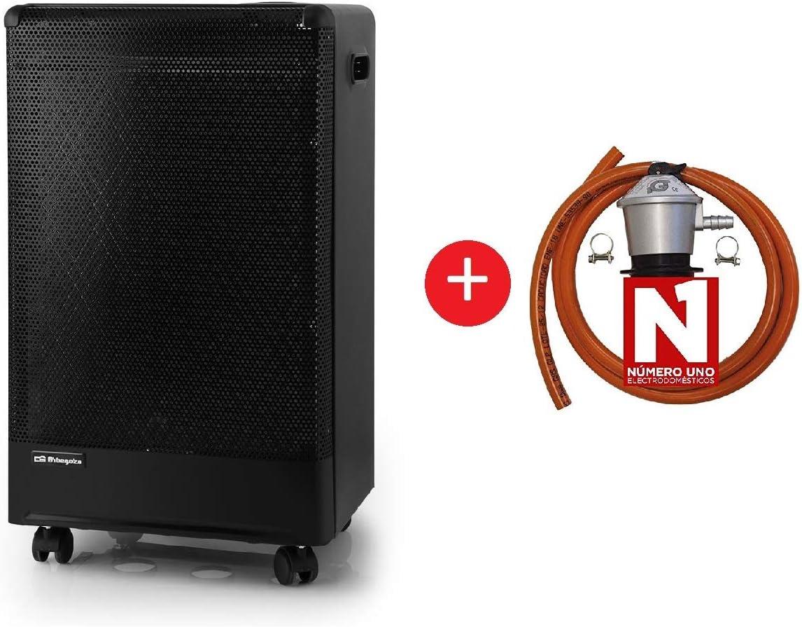 ElectrodomesticosN1 Pack Estufa Orbegozo de Butano H 55 Catalitica,3000W, Negro + Regulador de Gas butano HVG, Tubo Manguera 0,8 Metros, Abrazaderas