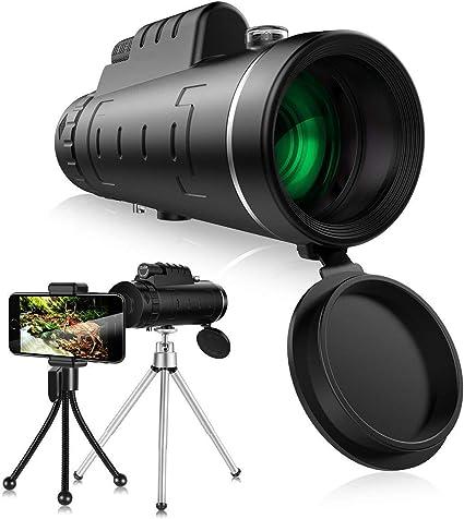 Telescopio Monocular slopehill Mini 12 x 50 HD Telescopio Impermeable Monoculares con Tr/ípode y Adaptador para Smartphone Monoculares de Largo Alcance para Observaci/ón de Aves Caza Conciertos Viaje