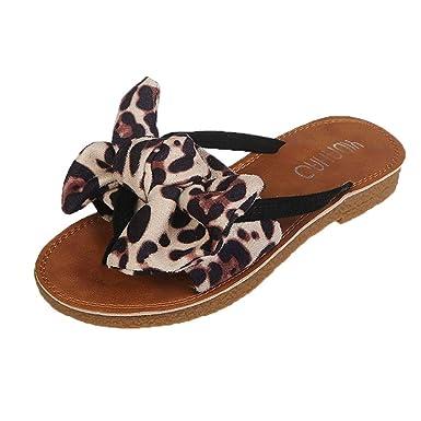 01a7a9a16066 Warmshop Women shoes AOP❤Women Slippers Bow Leopard Print Beach Flip Flops  Sandals Slippers Flat Sandals