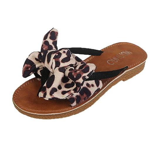16c50fc61732b Orangeskycn Summer Women Flip Flops Retro Bow Leopard Print Peep Toe Beach  Flip Flops Roman Flat Slippers Sandals