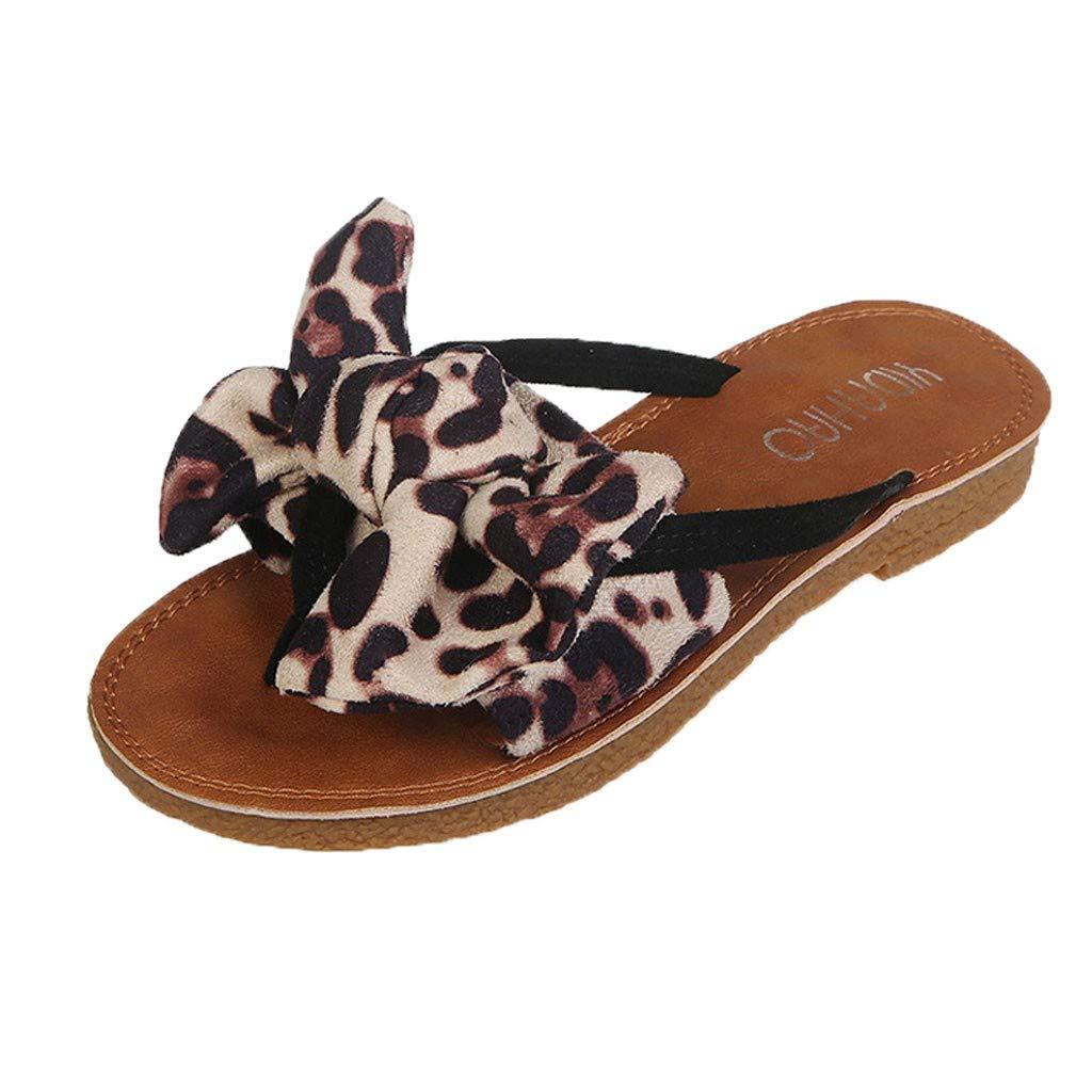 Orangeskycn Summer Women Flip Flops Retro Bow Leopard Print Peep Toe Beach Flip Flops Roman Flat Slippers Sandals Beige