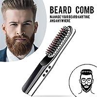 USB Hair Straightener Brush, Foonee Portable Cordless Beard Straightening Brush, Electric Hair Comb for Men Women, Mini Beard Straightener Comb for Travel/Home, Black